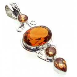 Citrine Indian Silver Pendant 02