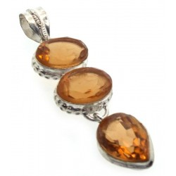 Citrine Indian Silver Pendant 03