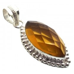 Citrine Indian Silver Pendant 05
