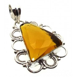 Citrine Indian Silver Pendant 06