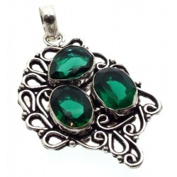 Diopside Indian Silver Pendant 01