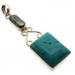 Turquoise Howlite and Biwa Pearl Indian Silver Pendant 01