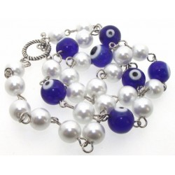 Dark Blue Lampwork Evil Eye and Faux Pearl Bead Necklace