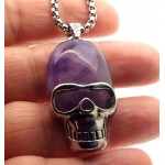 Amethyst Skull Chain Necklace