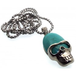 Turquoise Howlite Skull Chain Necklace