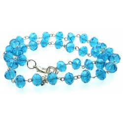 20 Inch Blue Crystal Glass Bead Necklace