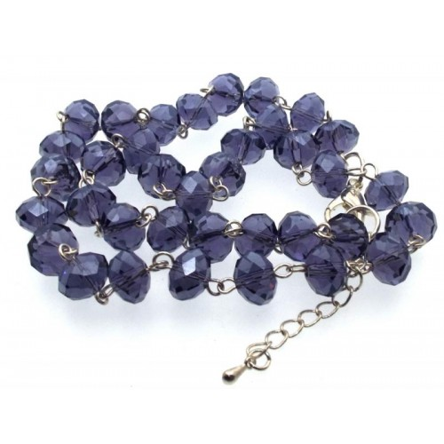 20 Inch Purple Crystal Glass Bead Necklace