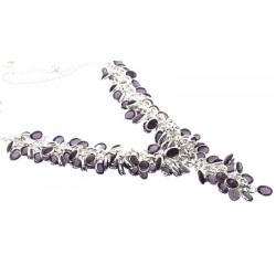Lilac Amethyst Indian Silver Gypsy Charm Necklace