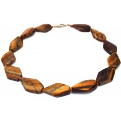 Tigers Eye Gemstone Flat Bead Necklace