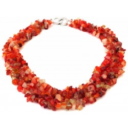 Red Agate Gemstone Chip Collar Necklace