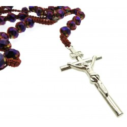 Purple Bead Rosary Macrame Necklace