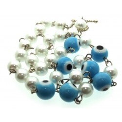 Light Blue Lampwork Evil Eye and Faux Pearl Bead Necklace