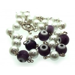 Purple Lampwork Evil Eye and Faux Pearl Bead Necklace