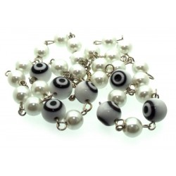 White Lampwork Evil Eye and Faux Pearl Bead Necklace
