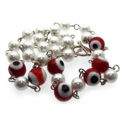 Red Lampwork Evil Eye and Faux Pearl Bead Necklace