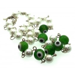 Green Lampwork Evil Eye and Faux Pearl Bead Necklace