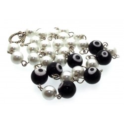 Black Lampwork Evil Eye and Faux Pearl Bead Necklace
