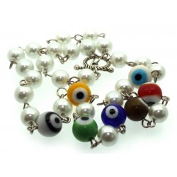 Multi Colour Lampwork Evil Eye and Faux Pearl Bead Necklace