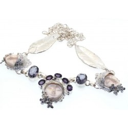 Amethyst and Iolite Indian Silver Goddess Necklace 01