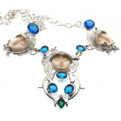 Blue Topaz and Diopside Indian Silver Goddess Necklace 02