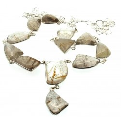 Angel Hair Quartz Indian Silver Necklace 01