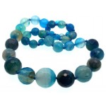 18 inch Blue Agate Gemstone Faceted Bead Necklace