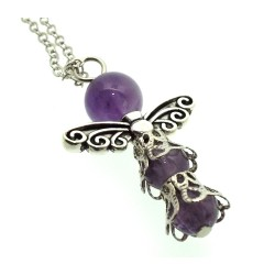 Amethyst Gemstone Bead Angel Chain Necklace