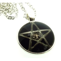 Black Pentacle Glass Dome Chain Necklace