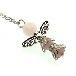 Rose Quartz Gemstone Bead Angel Chain Necklace