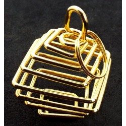 1x Gold Coloured Large Square Spiral Cage for Crystals and Gemstones