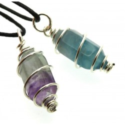 Fluorite Mini Double Terminated Point Spiral Pendant