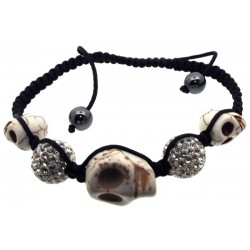 White Stone Skull and Bling Bead Bracelet