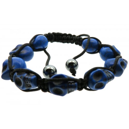 Blue Skull Bead adjustable Macrame Bracelet