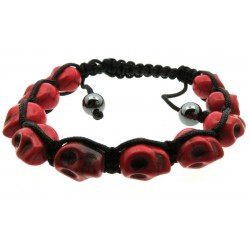 Red Skull Bead adjustable Macrame Bracelet
