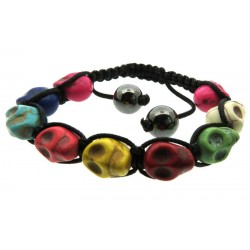 Multi Colour Skull Bead adjustable Macrame Bracelet