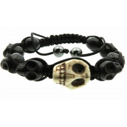 Black and White Skull Bead adjustable Macrame Bracelet