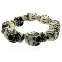 White Resin Skull Bead Elasticated Bracelet