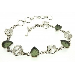 Moldavite and Herkimer Diamond Sterling Silver Bracelet 01