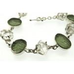 Moldavite and Herkimer Diamond Sterling Silver Bracelet 02