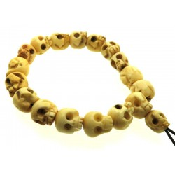 Tibetan Yak Bone Skull Bead elasticated Bracelet