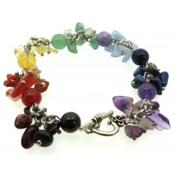 Chakra Gemstone Cluster Bead Toggle Bracelet