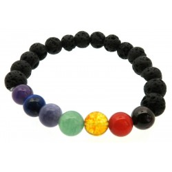 Chakra and Lava Rock Gemstone Bead Elasticated Power Bracelet