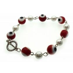 Red Lampwork Evil Eye and Faux Pearl Bead Bracelet