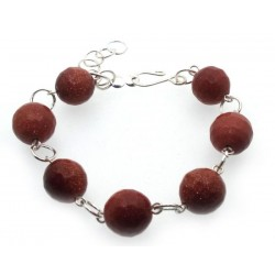 Faceted Goldstone Gemstone Bead Bracelet