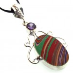 Rainbow Calsilica Indian Silver Pendant 03
