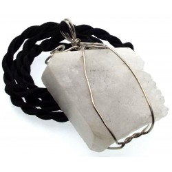 Natural Quartz Gemstone Wired Pendant