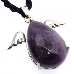Amethyst Gemstone Guardian Angel Pendant