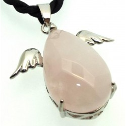 Rose Quartz Gemstone Guardian Angel Pendant
