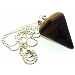 Tigers Eye Gemstone Hexagon Pendulum Point Pendant