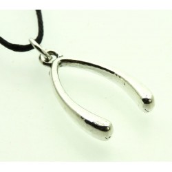 Silver Coloured Metal Lucky Wishbone Pendant